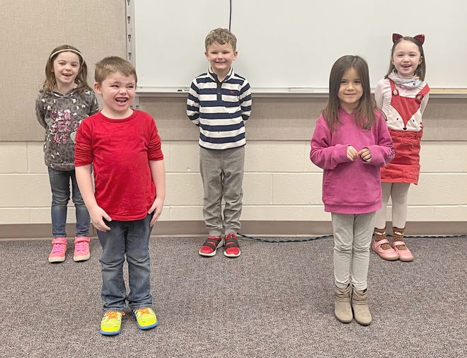 Kindergarten winners for December are, front row, from left: Riley Gregory and Maddie Cox. Back row: Vanessa Higgins, Everett Wellendorf and Eleanor Metzcar. (Submitted / Spencer Evening World)