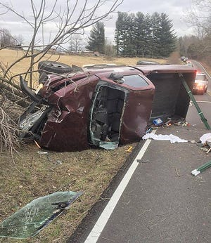 A single vehicle accident was called into the Owen County Dispatch Center at 4:07 p.m., Friday afternoon. The accident took place East Porter Ridge Road. The unidentified male driver was alert but trapped in the vehicle. After emergency crews on scene extricated him from the vehicle, he was transport to the hospital by Owen County EMS. Agencies assisting on scene included Owen County EMS, the Owen County Rescue Team, Owen County Sheriff's Department and Clay Township Volunteer Fire Department. (Submitted / Spencer Evening World)