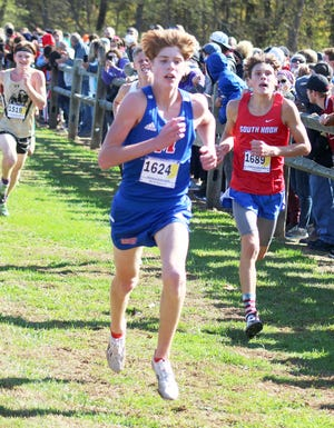 Martinsville freshman Martin Barco IV races to the finish of the IHSAA semi-state meet at Eagle Park in Brown County. (Steve Page / Correspondent)