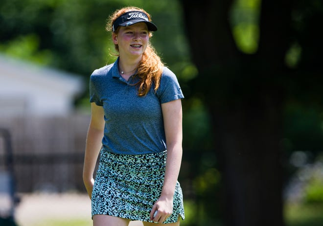 Delaney Wade, shown during last year's women's Metro Golf tourney, leads the Penn girls team to the State Finals this week.