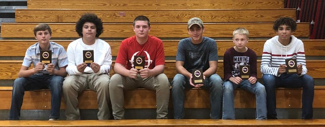 Owen Valley Middle School recently held its fall sports awards program, honoring all athletes and handing out awards. Those receiving awards for football included, from left, Anthony Brewster (7th grade MVP), William Doty (7th grade Lineman Award), Kolby Pardue (8th grade Lineman Award), Dakota Heidrick (8th grade Best Back Award), Carter Salyers (7th grade Best Back Award) and Elijah Anderson (8th grade MVP). (Submitted / Spencer Evening World)