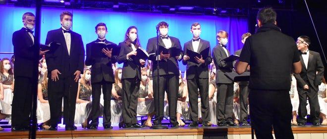 "The OVHS men sang ""We Three Kings"" during the recent choir performance. (Amanda York / Spencer Evening World)"
