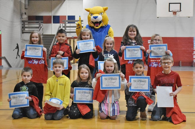 First grade Top Cats at Spencer Elementary include: Luke Minnick, Billy Tomic, Neveah Willoughby, Akaydia Beckwith, Lucy Dial, Rusti O'Neal, Laci Freeman, Taylor Lukowski, Charly Garcia, Amelia Biggs, Jaxon Curl and Brayden McVicker. (Amanda York / Spencer Evening World)