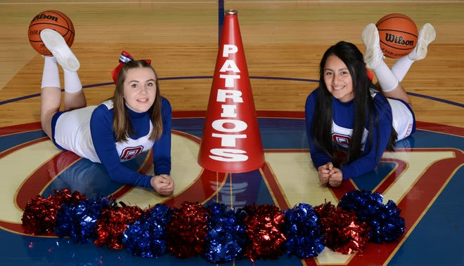LEFT: The OVHS 2020-2021 junior varsity cheerleaders are Bella Bradley and Jackie Trejo. (Courtesy Photo by Kirkwood Photo Lab)
