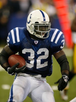 Fomrer Indianapolis Colts running back Edgerrin James runs, shown in November of 2005, we elected into the Pro Football Hall of Fame on Saturday.