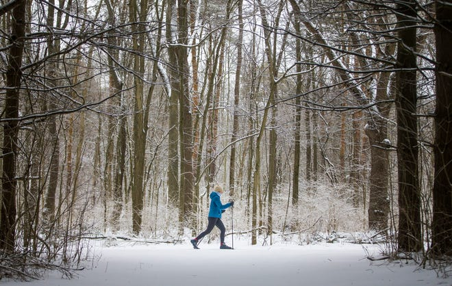 A cross-country skier makes their way along a wooded path at St. Patrick's County Park on Tuesday, Jan. 26, 2021, in South Bend.