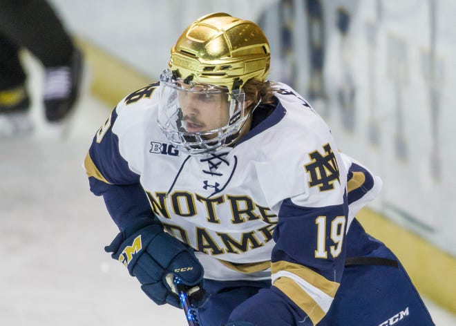 Notre Dame's Landon Slaggert (19) is shown during a hockey game against Arizona State on Jan. 9 in South Bend.