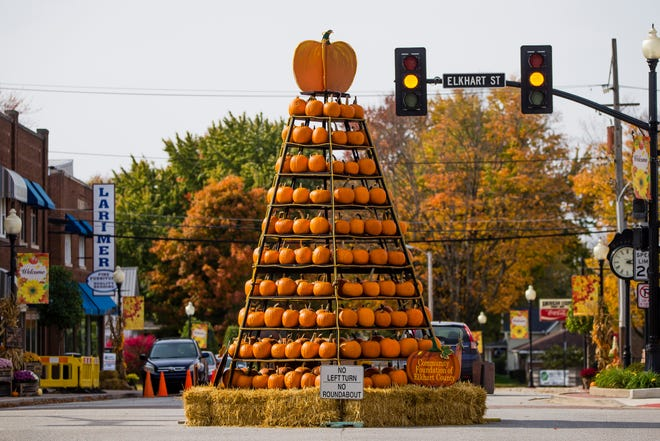 A display of pumpkins at the intersection of Waterford and Elkhart streets in Wakarusa.
