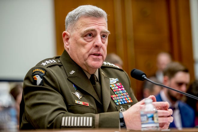 Joint Chiefs of Staff Chairman Gen. Mark Milley speaks at a February House Armed Services Committee hearing.