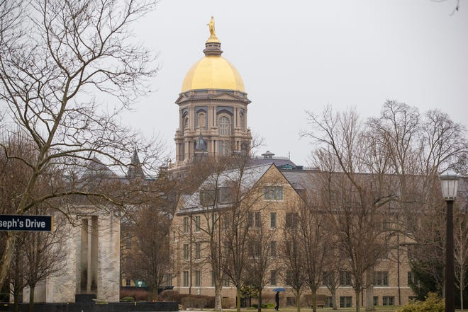 The golden dome on the University of Notre Dame campus is shown March 16.