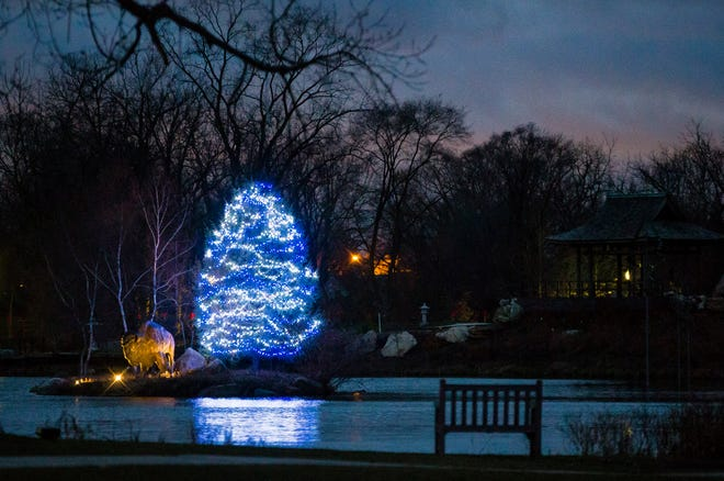 A part of the display Tuesday, Dec. 1, 2020 at the Wellfield Botanic Gardens in Elkhart.