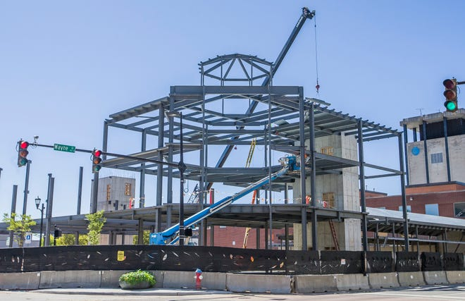 Construction continues on the new St. Joseph County Public Library building and expansion project on Friday, Sept. 18, 2020, in downtown South Bend.