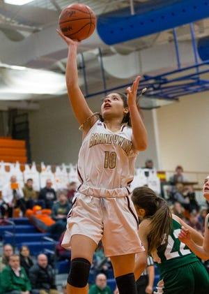Brandywine's Zakiyyah Abdullah drives to the basket during the against Hartford game March 6, 2019 at Bridgman High School.
