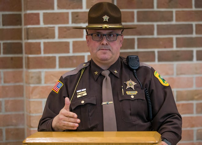 St. Joseph County Sheriff Bill Redman speaks at the county jail in 2019.