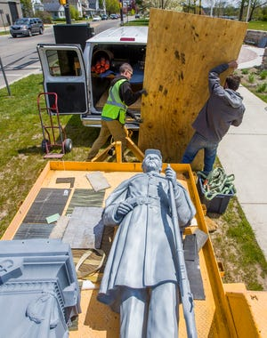 A Civil War statue is being erected at Battell Park on Tuesday, May 12, 2020, in Mishawaka.