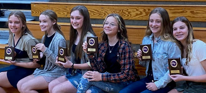 The OVMS volleyball award winners are, from left, Lucy Dyer (8th grade Offensive MVP), Kennedy Shay (8th grade Defensive MVP), Kalyn Greene (8th grade MVP), Aaliyah White (7th grade Defensive MVP), Makynlee Bonds (7th grade MVP) and Cammie King (7th grade Offensive MVP). (Submitted / Spencer Evening World)