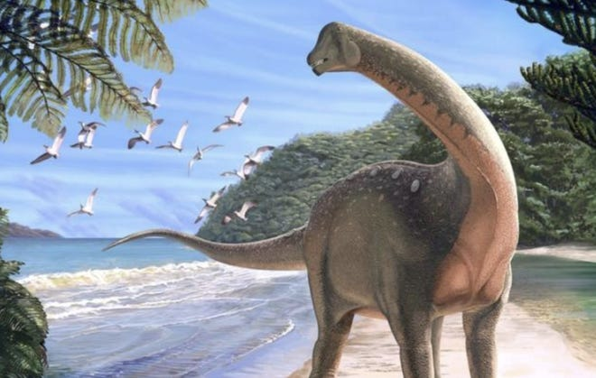 """Scientists recently discovered a new dinosaur in the Egyptian desert, """"shedding light on Africa's missing history of dinosaurs."""" Screenshot (courtesy)"""