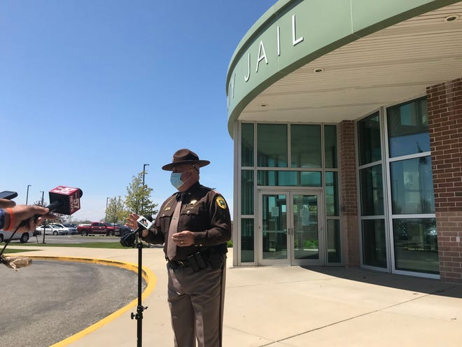 St. Joseph County Sheriff Bill Redman speaks to reporters May 7 outside the county jail after the jail saw its first case of coronavirus.