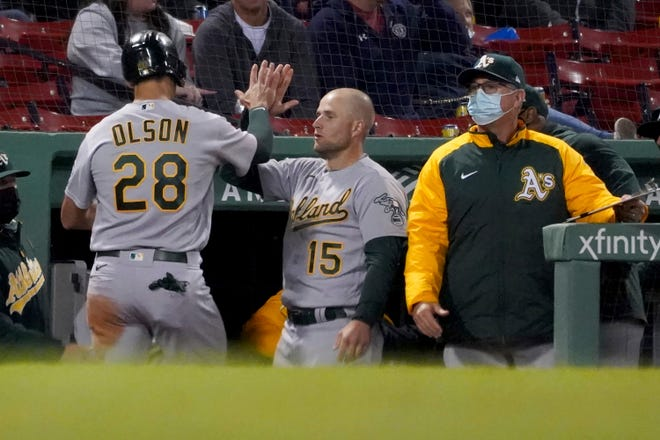 Matt Olson (28) scored a late run Tuesday and homered Wednesday for Oakland.