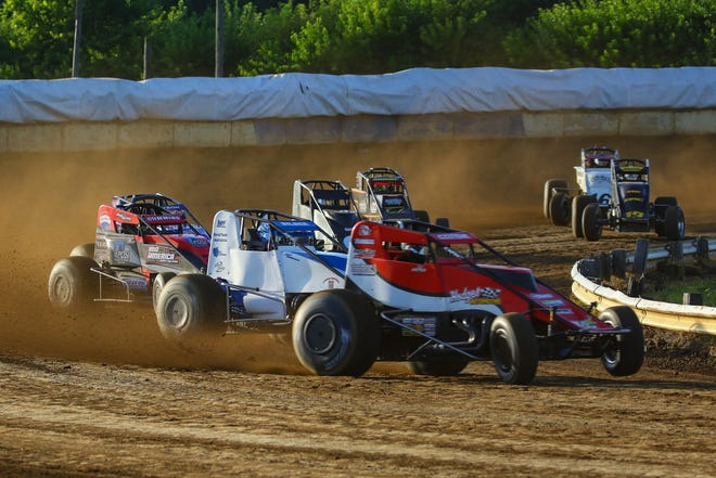Sprint cars kick up the dirt at Terre Haute Action Track. The half-mile dirt oval opens it 2021 season Sunday with MSCS Sprints headlining the show. (Courtesy photo / Jay Alley / THAT)