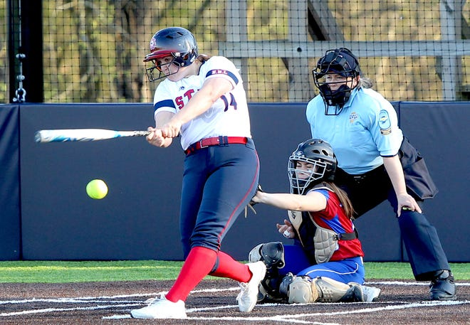 BNL senior Sarah Stone rips a hit against Linton Monday night. Stone went 2 for 2 with two RBIs in an 8-0 victory and is now hitting .818. (Garet Cobb / Times-Mail)