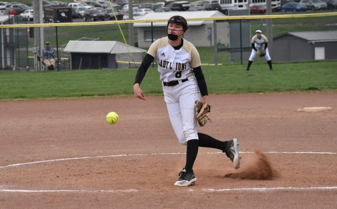 Isabelle Waggner fires in a pitch against Paoli. The senior was fantastic in Loogootee's win over the Rams, allowing just two hits and one run across five innings of work. (Auston Matricardi / Times-Mail)