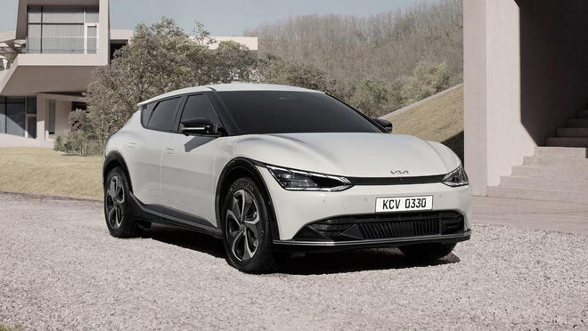 The 2022 Kia EV6 is a new electric crossover SUV with seating for five people. (Kia Motors America)