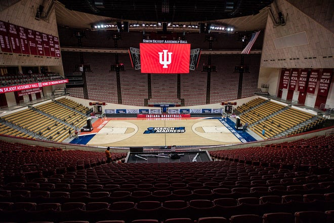 Simon Skjodt Assembly Hall, one of seven Hoosier arenas that will be part of the first-round action in this year's NCAA men's basketball tournament, will have up to 500 people in the arena at one time. (Missy Minear / Indiana Athletics)