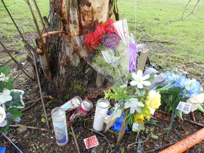 Flowers, candles and other items were left at the scene of the fatal April 17 crash on Dinsmore Road. (Laura Lane / Herald-Times)