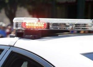 Police car lights daytime