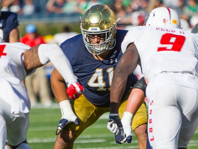 Nose guard Kurt Hinish has played in 50 of the possible 51 games in the last four season at Notre Dame.