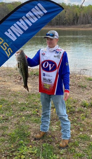 Wyatt Beuerlein is shown holding up his 7.68 pound bass, good enough for fourth place. (Submitted / Spencer Evening World)