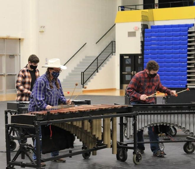 The Winter Percussion group competed at Greenfield Central last Saturday, finishing in fifth place. (Katie McDaniel / Spencer Evening World)