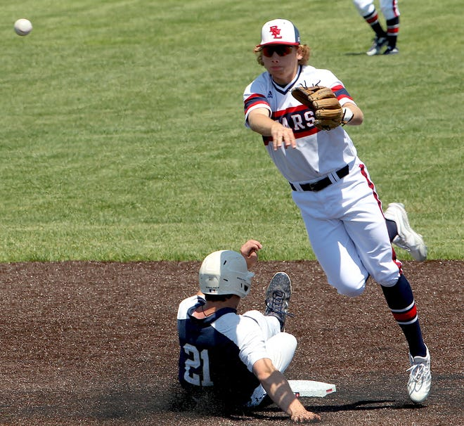 BNL shortstop Aden Pemberton completes the turn on a double play this season. Pemberton is one of three Stars named to the 2021 IHSBCA Academic All-State team. (Garet Cobb / Times-Mail)