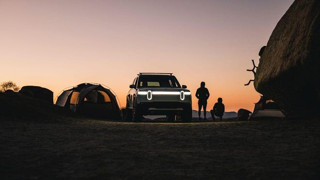 """To support the active lifestyle customers it wishes to court, Rivian will build a North American """"Adventure Network"""" to keep its electric vehicles charged up in remote locations. (Jeff Johnson for Rivian)"""