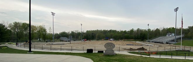 The Owen Valley High School football field and track complex is coming along quite nicely as the weather has been a little better as of late. Workers are there each day in an effort to get the project done this summer. (Amanda York / Spencer Evening World)