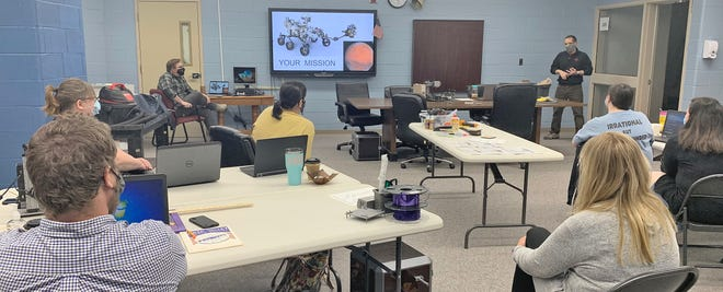 OVMS staff members spent Saturday learning about design thinking and how it connects to makerspaces. IU Mill Director Dr. Adam Maltese and Upland Mobile Maker Lab Director led the training on two separate weekends for OVMS staff members. (Submitted / Spencer Evening World)