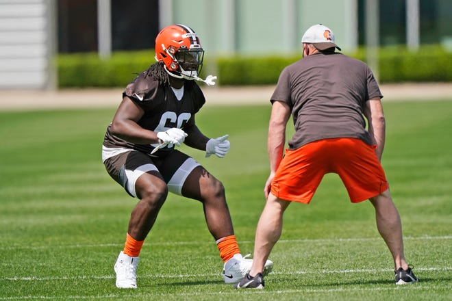 The Browns signed offensive tackle James Hudson III, a fourth-round pick, to his rookie contract. [Tony Dejak/Associated Press]