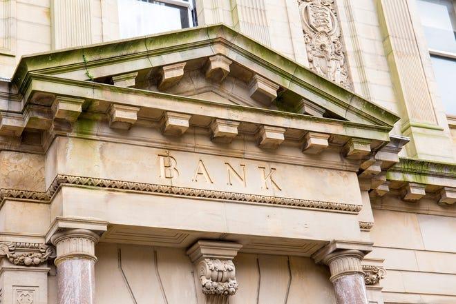 The outside facade of a bank