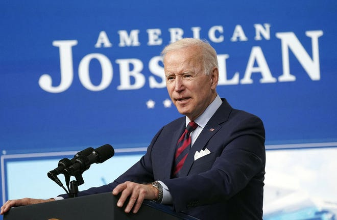 President Joe Biden delivers remarks on the investments in the American Jobs Plan at the White House in Washington, D.C., on Wednesday, April 7, 2021. (Leigh Vogel/Pool/Abaca Press/TNS)