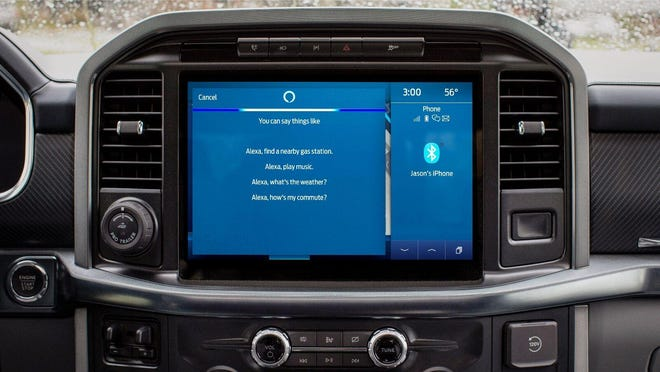 Ford Motor Company will add Amazon Alexa Built-in to its models equipped with the Sync 4 infotainment system later in 2021. Shown here are sample commands on a Ford F-150 infotainment system display. (Ford Motor Company)
