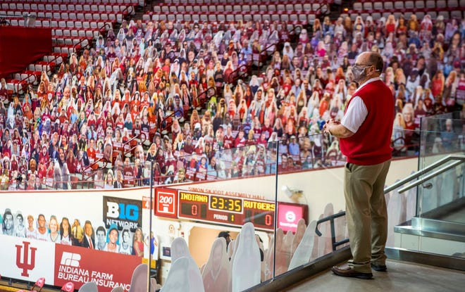 Usher Dan Gillespie looks out over the Simon Skjodt Assembly Hall floor Sunday before the start of the Indiana-Rutgers men's basketball game . (Rich Janzaruk / Herald-Times)