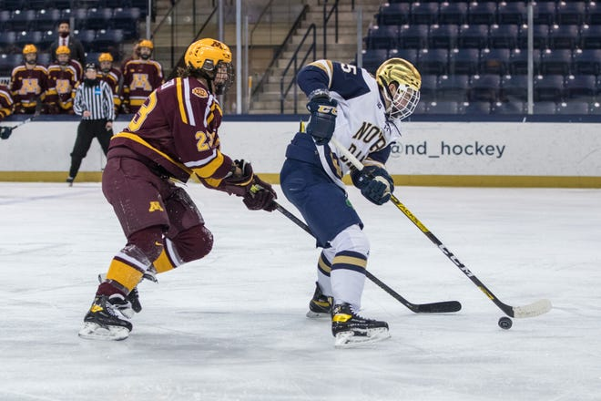 Notre Dame's Solag Bakich, right, in a game against Minnesota last season. Bakich scored two goals in the Irish loss to the U.S. Under-18 team Sunday.
