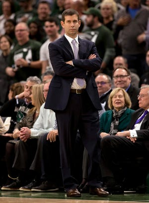 May 8, 2019; Milwaukee, WI, USA; Boston Celtics head coach Brad Stevens looks on during the third quarter against the Milwaukee Bucks in game five of the second round of the 2019 NBA Playoffs at Fiserv Forum. Mandatory Credit: Jeff Hanisch-USA TODAY Sports