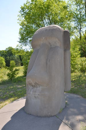 Anne Snabes/GraphicThe Ancient World exhibit at Raven Hill includes a replica Easter Island head.