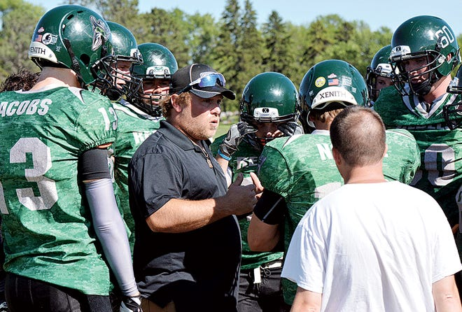 Head coach Tommy Whitley (center) and the Watertown Rebels are set to open their third season in the Southern Plains Football League — adult nine-man, full-contact league with teams in South Dakota, Minnesota and Iowa. The Rebels kick off their season Saturday by visiting the Sioux Falls Crusaders at 4 p.m. at Bob Young Field, the home of the University of Sioux Falls football team. (Public Opinion file photo)