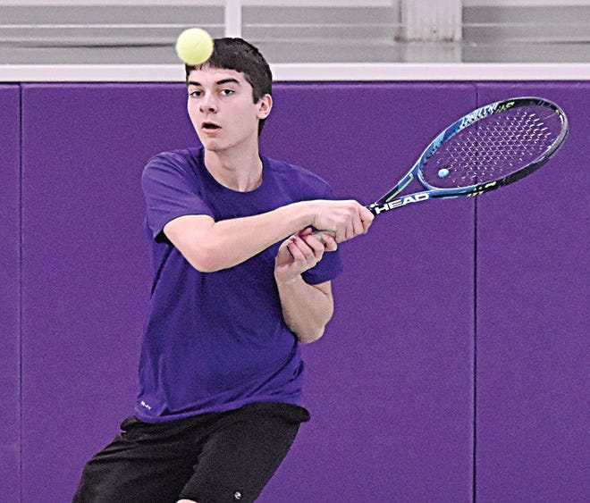 Watertown's Drew Veflin watches his return shot fly through the air during his third-flight singles contest against Sioux Falls Washington on Friday on the indoor tennis courts at Watertown High School.(Public Opinion photo by Nathan Giese)