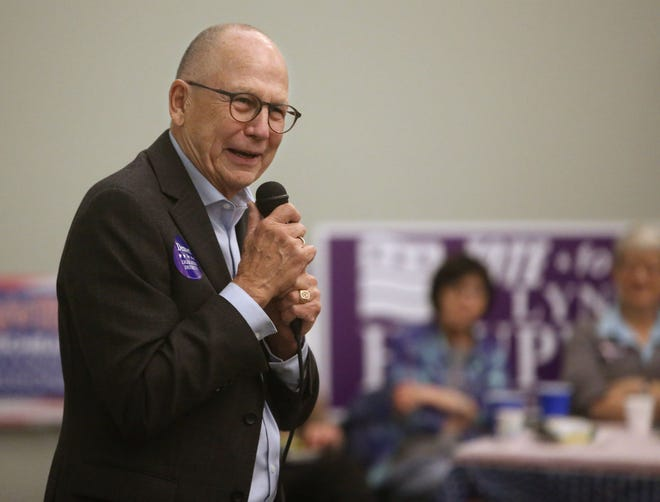 Attorney general candidate Randy Seiler speaks to constituents at an event Thursday night at the Brown County Democrats campaign headquarters. American News photo by John Davis