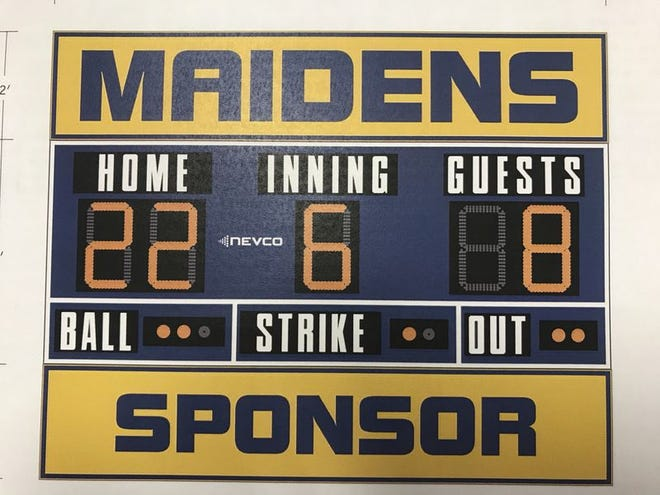 Naming rights are being offered for a Waynesboro (Pa.) Area School District softball scoreboard similar to the one pictured. A business or organization's name could appear on the scoreboard for $25,000.