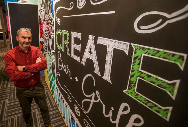 In this Nov. 2020 Tribune file photo, general manager Nate Barnett poses inside Create Bar and Grill in Niles. The new restaurant is participating in the Niles Restaurant Week the first week of March.